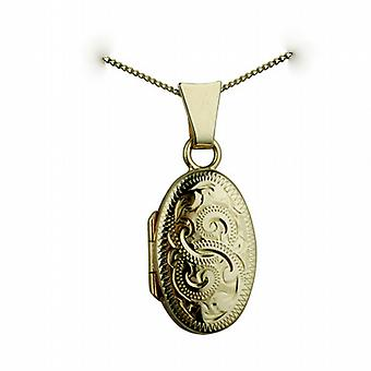 9ct Gold 18x11mm hand engraved oval Locket with a curb Chain 20 inches