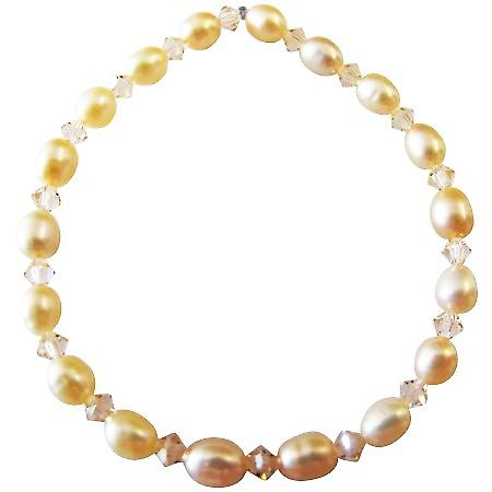 Peach Freshwater Pearls Peach Swarovski Crystals Stretchable Bracelet