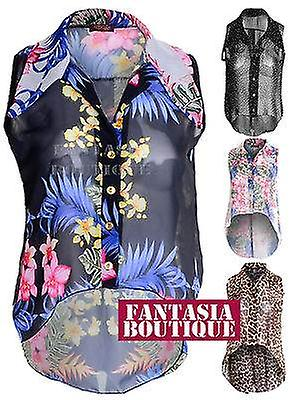 Ladies Chiffon Blouse Leopard Floral Polka Dot Sleeveless Shirt Top Dress