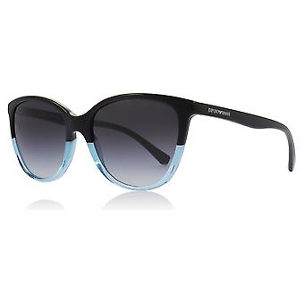 Emporio Armani EA4110 56328G Black/Azure EA4110 Cats Eyes Sunglasses Lens Category 3 Size 55mm