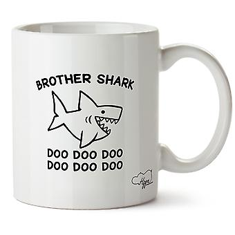 Hippowarehouse Brother Shark Doo Doo Doo Doo Doo Doo Printed Mug Cup Ceramic 10oz