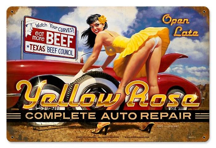 Yellow Rose Complete Auto Repair rusted metal sign (pst 1812)