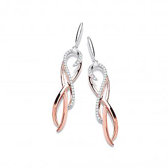 Cavendish French Silver, Rose Gold and CZ Spirit Drop Earrings
