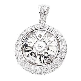 925 iced out sterling silver pendant - SPINNER