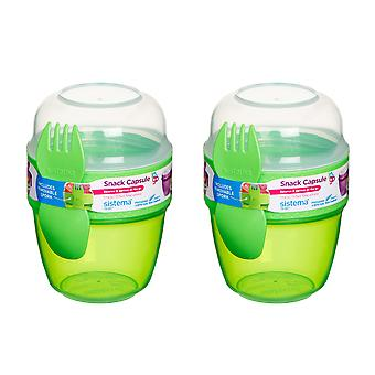 Sistema Set of 2 Snack Capsules, Lime Green