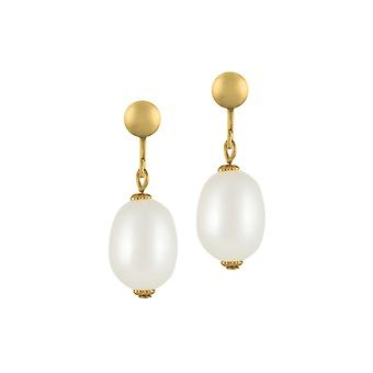 Eternal Collection Doyenne AAA White Freshwater Pearl Gold Tone Drop Clip On Earrings