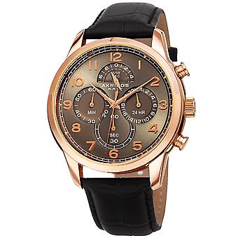Akirbos XXIV AK1004RGBK Men's Chronograph Classic Black Leather Strap Watch