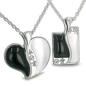 Love Forever Kanji Couple Yin Yang coeur Tag simulé Onyx blanc simulé Cats Eye colliers pendentif