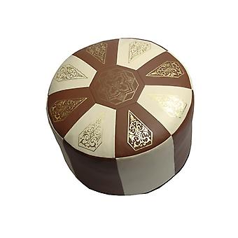 Seat cushion Pouffe Oriental pillow around faux leather Brown/champagne, width 50 cm, height 34 cm