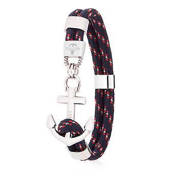Skipper Anchor Bracelet Surfer Band Maritime Bracelet Stainless Steel Navy/Silver 8079