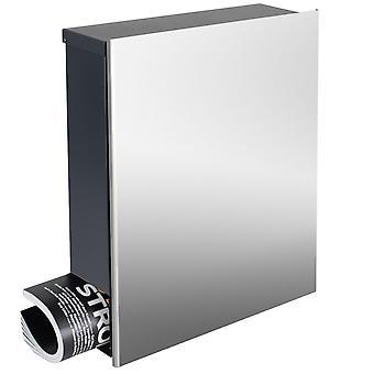 Design-Edelstahl-Briefkasten mit Zeitungsfach Korpus anthrazit-grau (RAL 7016) MOCAVI Box 111VA Wandbriefkasten 12 Liter