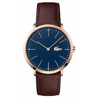 Lacoste Mens Brown Leather Strap Blue Dial Gold Case 2010871 Watch
