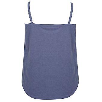 Blue Marl Pyjama Cami Top With Floral Print Trim