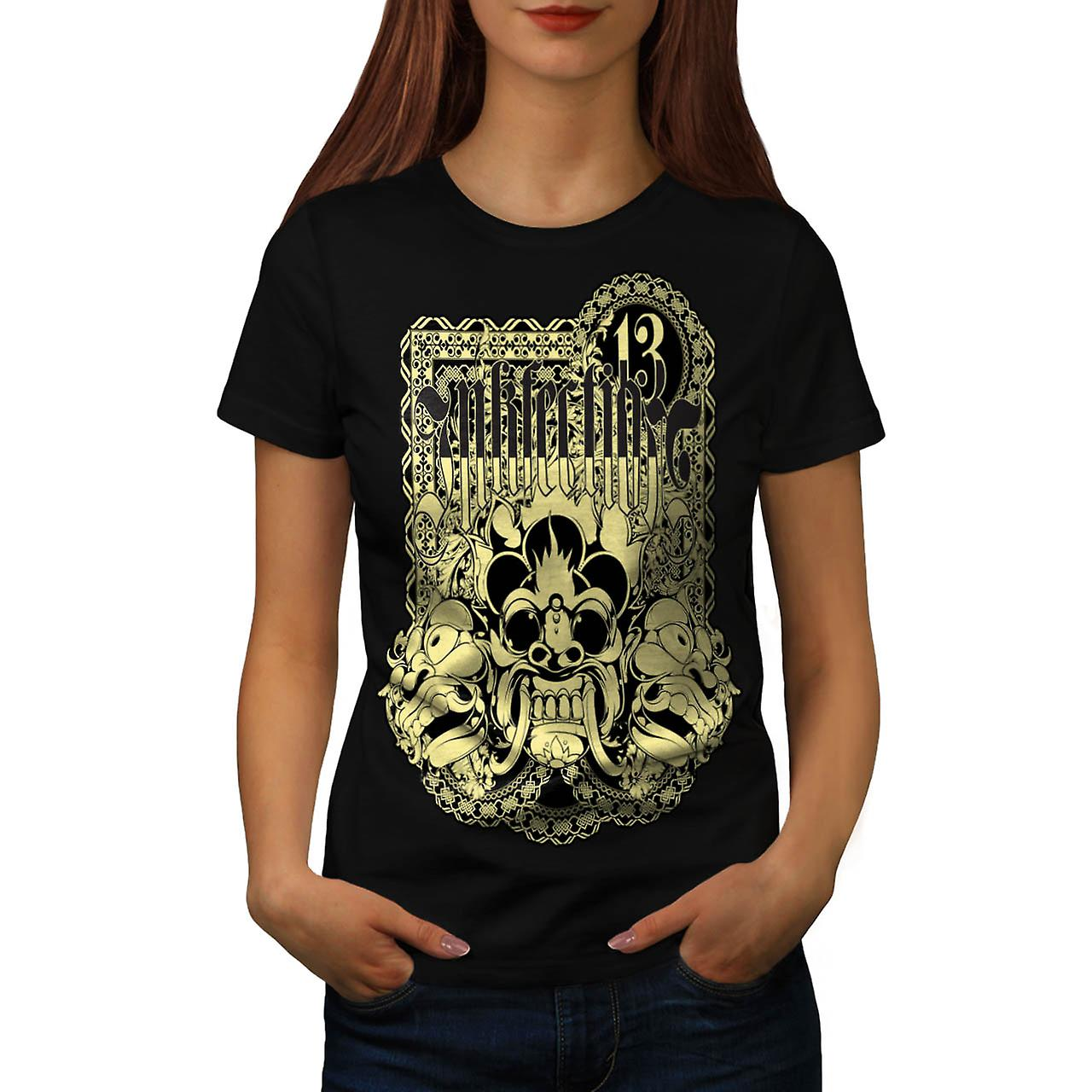 Inkfection Satan Vintage Women Black T-shirt | Wellcoda