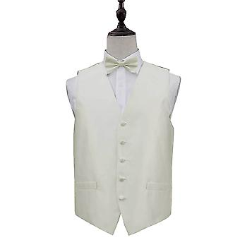 Solid Check Ivory Wedding Waistcoat & Bow Tie Set