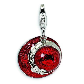 Sterling Silver 3D Enameled Red Hat with With Lobster Clasp Charm - 3.3 Grams - Measures 26x15mm