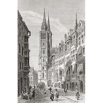 St Lorenz Church Nuremberg Bavaria Germany In The 19Th Century From Pictures From The German Fatherland Published C1880 PosterPrint