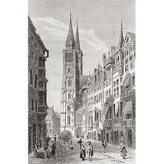 St.-Lorenz-Kirche Nürnberg Bayern Deutschland im 19. Jahrhundert aus Bildern von deutschen Vaterlandes veröffentlicht C1880 PosterPrint