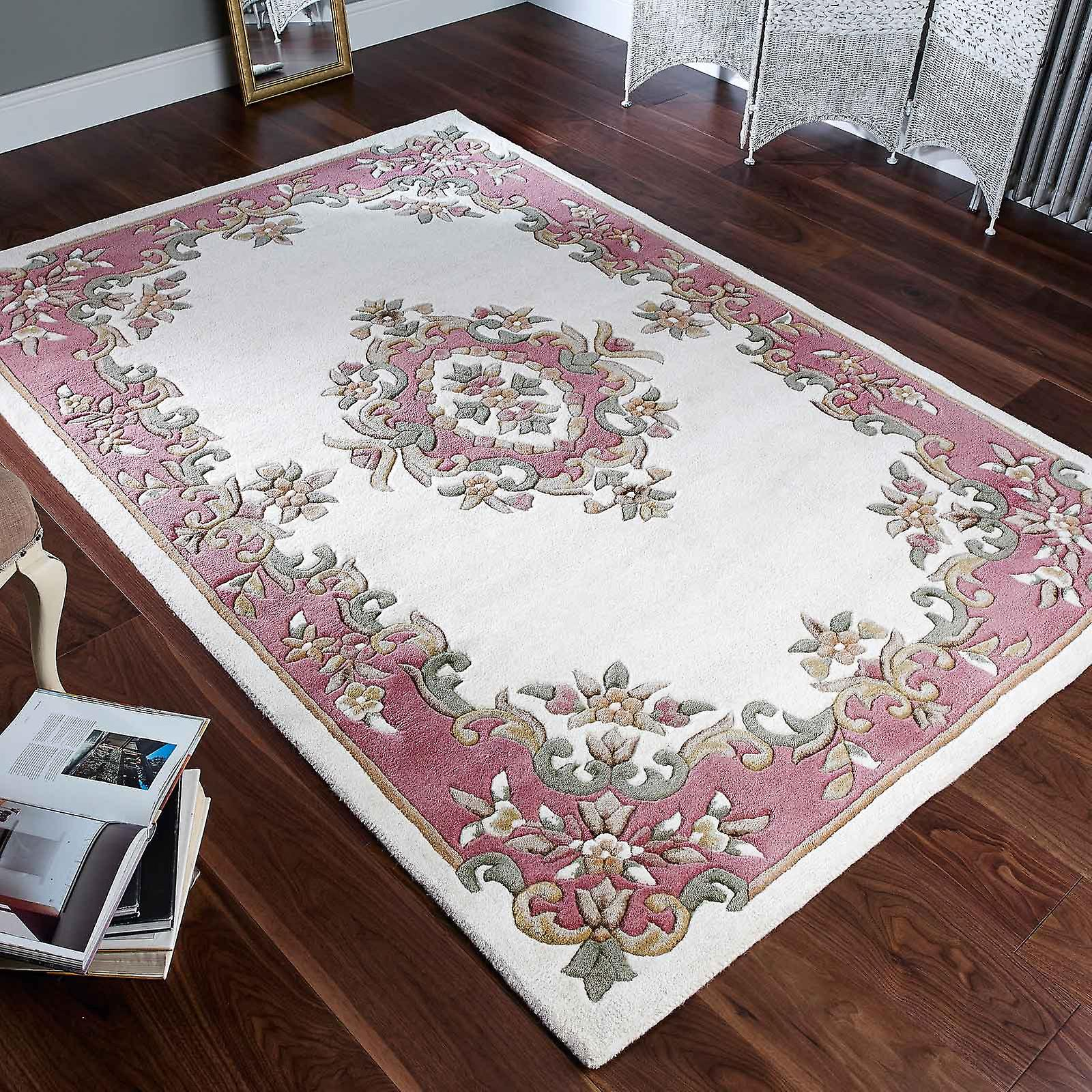 Royal Aubusson Wool Rugs In Cream Pink