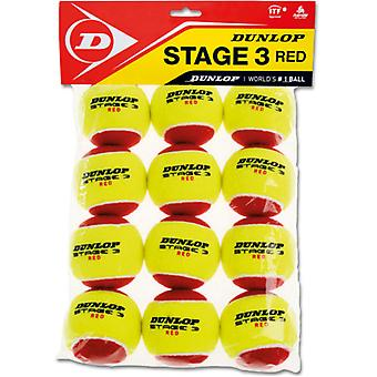 Dunlop stage 3 Red poly bag 12 balls (75% reduced pressure)