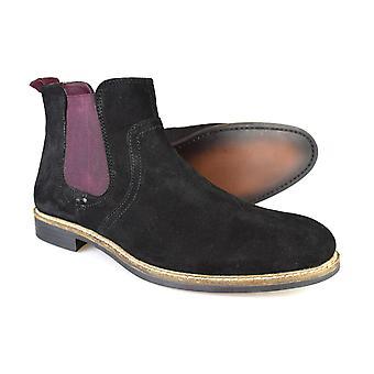 Administratieve rompslomp Newton Zwart / Bordeaux suède klassieke Chelsea Boots