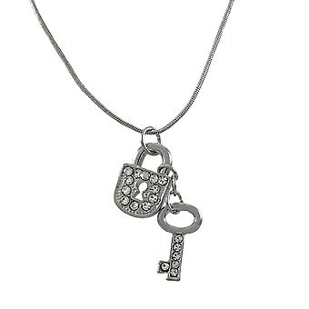 Silvertone Snake Chain with Lock and Key Charms