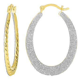 10k 2 Tone geel en wit goud Glitter ovale Hoop Earrings, Diameter 20mm
