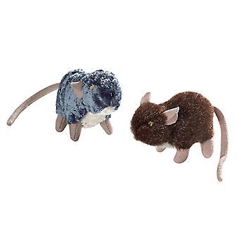 Hunter gatto giocattolo Set peluche ratti 3cm (confezione da 6)