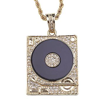 ICED OUT bling chain - DJ turntable gold