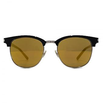 Saint Laurent SL 108 Surf Clubmaster Style Sunglasses In Black Gold Mirror