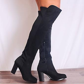 Shoe Closet Over The Knee Boots - Ladies Seren4 Black Over The Knee Stretch Heeled Boots