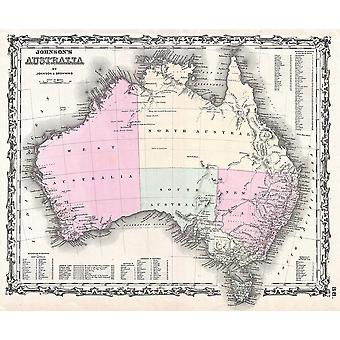 Australia Map Johnson and Browning 1861 Poster Print Giclee