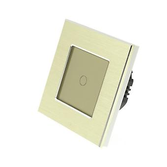 I LumoS Gold Brushed Aluminium 1 Gang 1 Way Remote & Dimmer Touch LED Light Switch Gold Insert