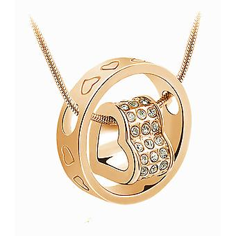 GOLD CRYSTAL HEART IN RING NECKLACE