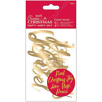 Papermania Create Christmas Foiled Words Stickers-Gold PM157959