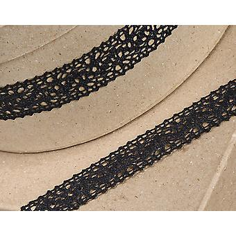 25mm Black Cotton Lace Border Ribbon for Craft - 10m | Ribbons & Bows for Crafts