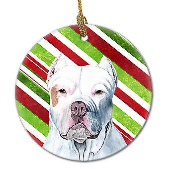 Pit Bull Candy Cane Holiday Christmas  Ceramic Ornament SC9341