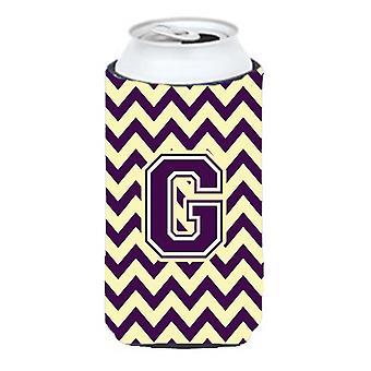 Letter G Chevron Purple and Gold Tall Boy Beverage Insulator Hugger