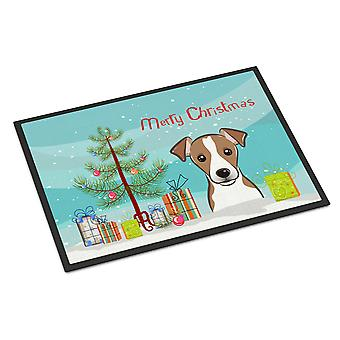 Christmas Tree and Jack Russell Terrier Indoor or Outdoor Mat 24x36