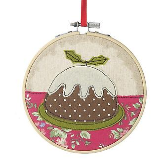 Heaven Sends Christmas Pudding Stitched Decoration Hoop