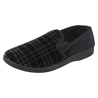 Mens Spot On Checked Slippers M.S.60 - Navy 60 Textile - UK Size 10 - EU Size 44 - US Size 11