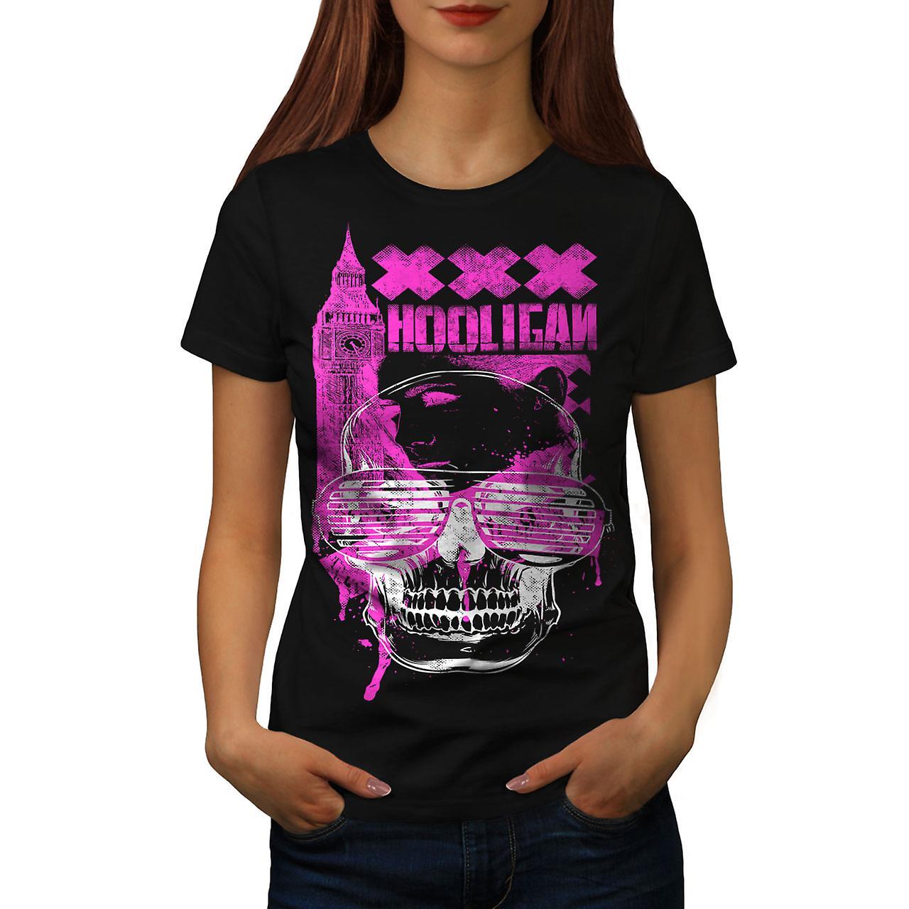UK Hooligan Dead Gangster Women Black T-shirt | Wellcoda
