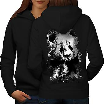 Eating Panda Face Women BlackHoodie Back | Wellcoda