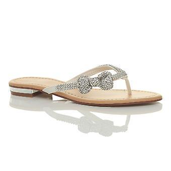 Ajvani Womens niedrigem Absatz flacher Strand Hochzeit Sommer Prom Diamante Bogen Flip-Flop Sandalen
