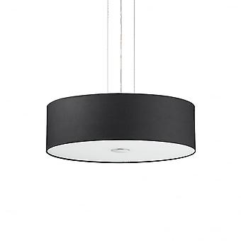 Ideal Lux Woody Ceiling Drum Shade Pendant Light, Black Fabric