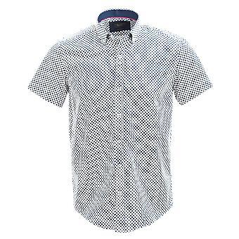 Guide London Navy Cotton Sateen Bold Polka Dot Print Short Sleeve Shirt