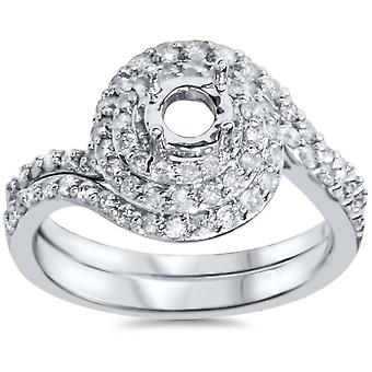 7/8ct Pave Double Halo Engagement Ring Setting & Matching Band 14K