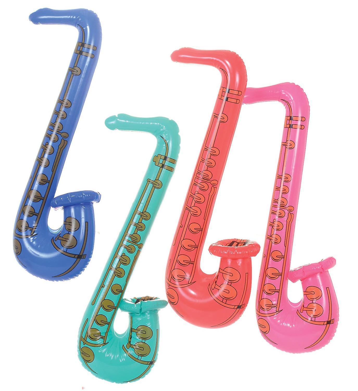 24 Inflatable Saxophones 80cm (4 Assorted Colours) 51546