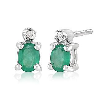9ct White Gold 0.33ct Emerald & Diamond Classic Oval Stud Earrings