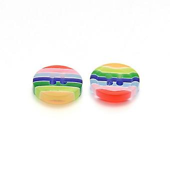 Packet 5 x Multicolour Resin 13mm Round 4-Holed Patterned Sew On Buttons HA14640